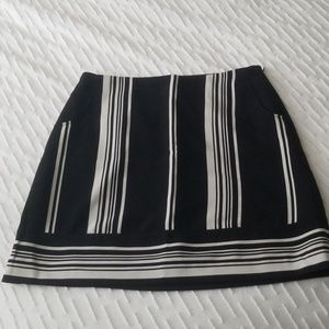 The Limited black and cream striped skirt